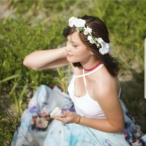 Accessories - Boho floral hair wreath w/ free wrist corsage
